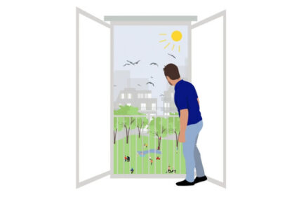 Drawing of a man looking out of a door into green space
