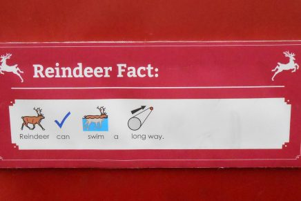 Widgits on a sign sharing reindeer facts