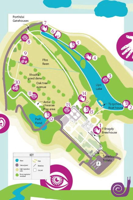 Map of a sensory trail at Tredegar House