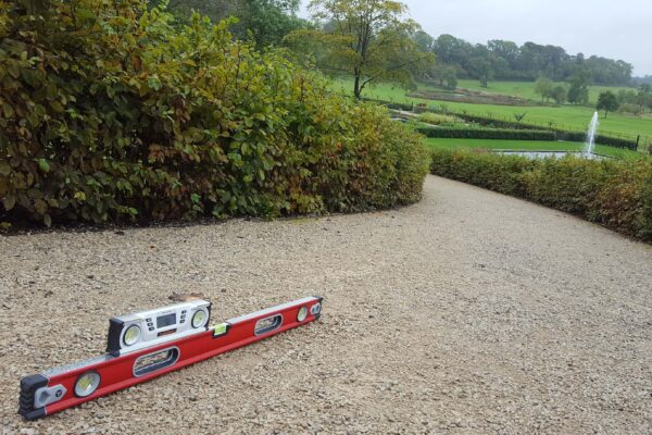 Measuring gradient on a path with a clinometer