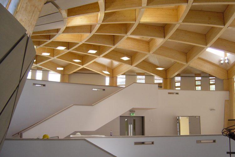 Construction of the Core building at the Eden Project with acoustic baffle panels in ceiling