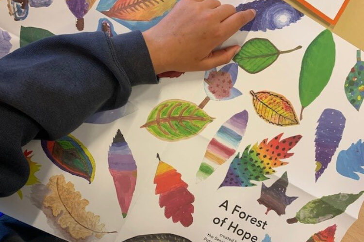 School child points to an image of a leaf on a poster