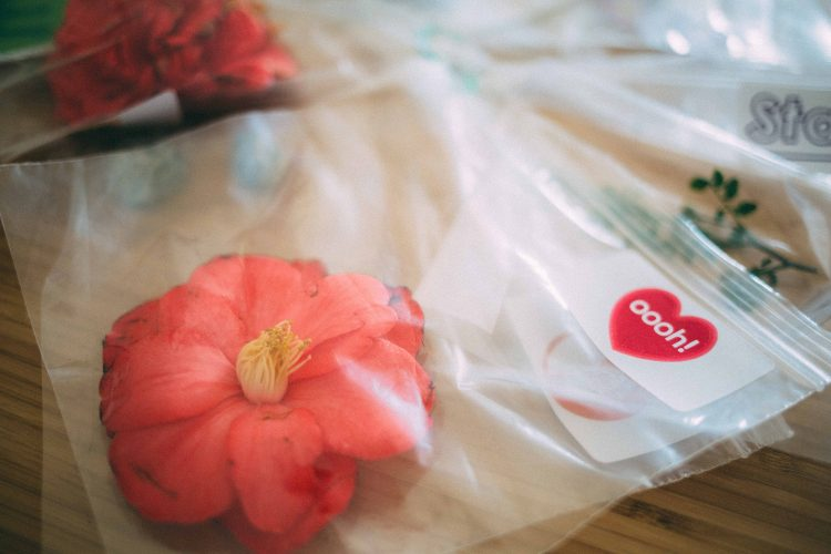 Bag with a pink flower and a label saying oooh!
