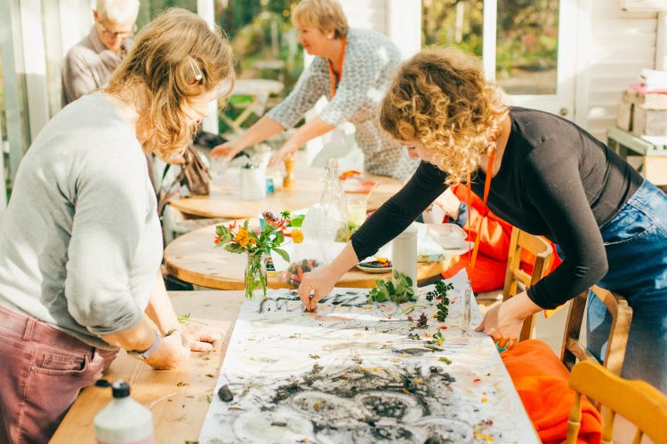 A nature painting activity at Potager garden in Cornwall