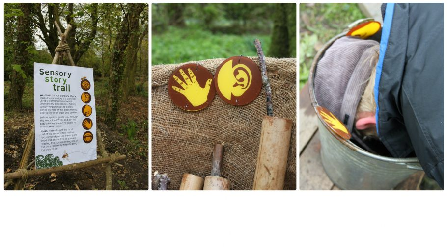 Images showing Sensory Trail instructions, two trail markers depicting and ear and a hand and a boy with his head in a bucket smelling leaves