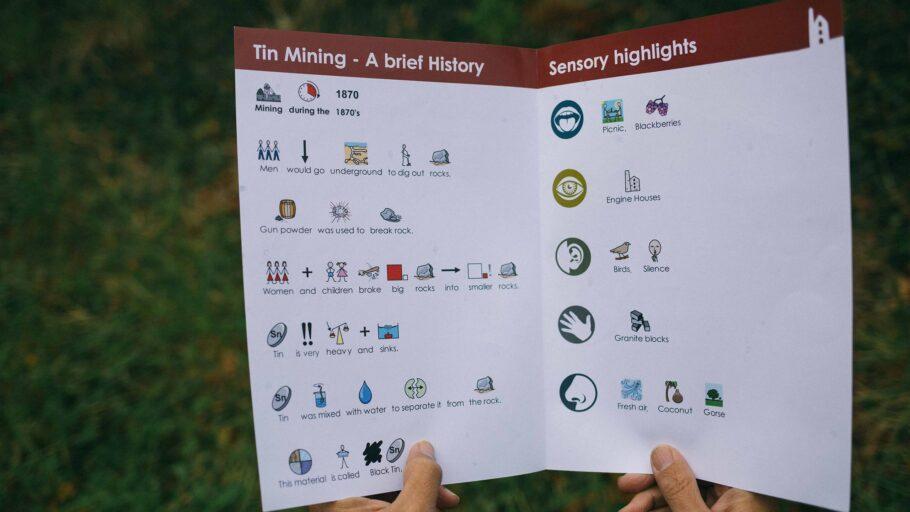 Widgit information sheet being read