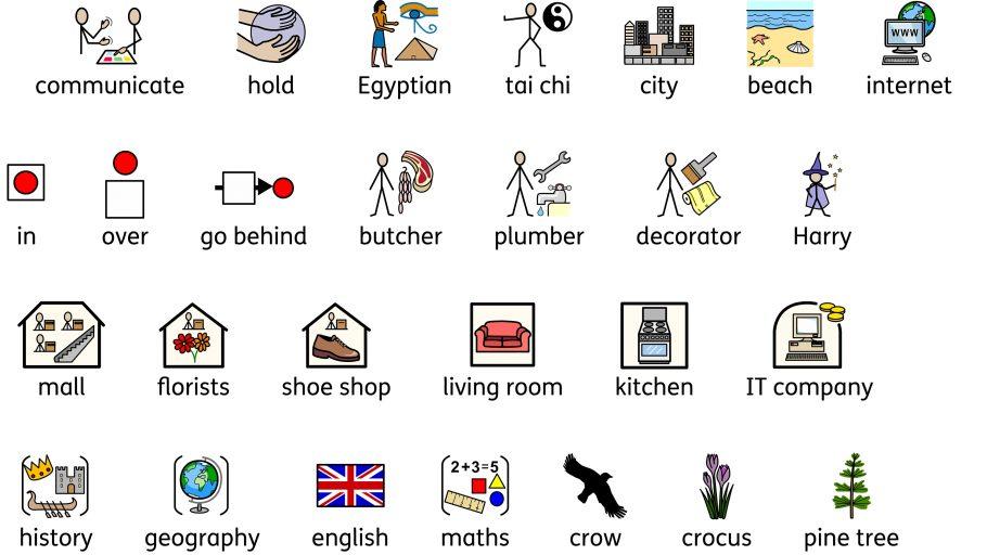 A sheet of Widgit symbols