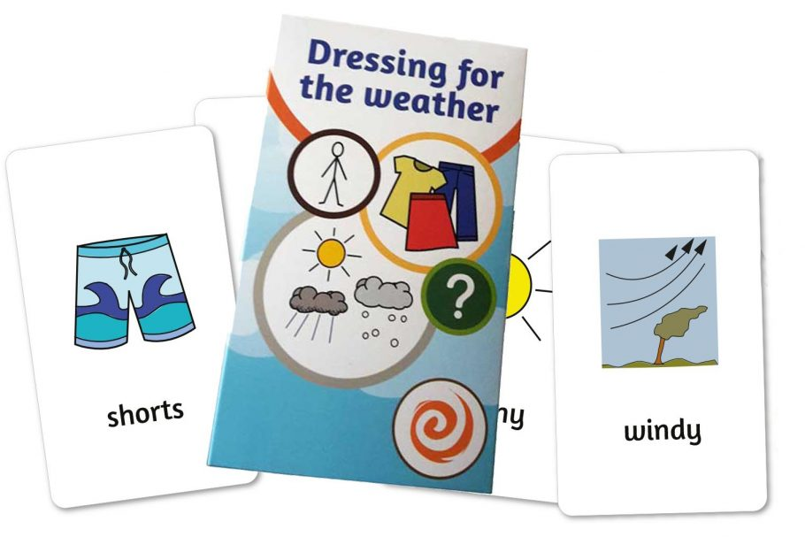 Dressing for the weather cards depicting shorts and windy next to the card box